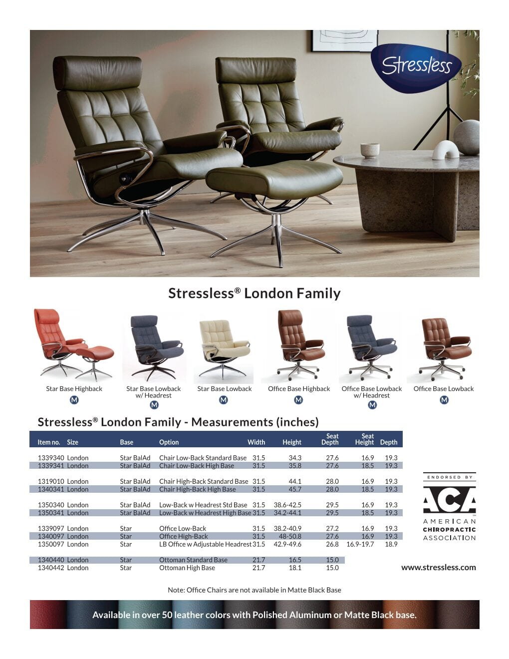 Stressless London Product Product Sheet