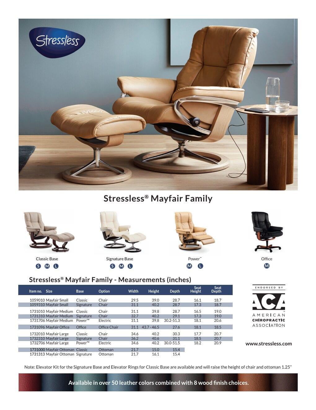 Stressless Mayfair Recliner Product Sheet