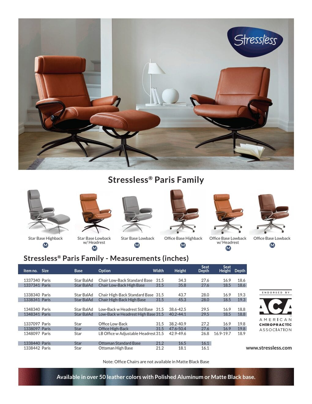 Paris Product Sheet from Stressless