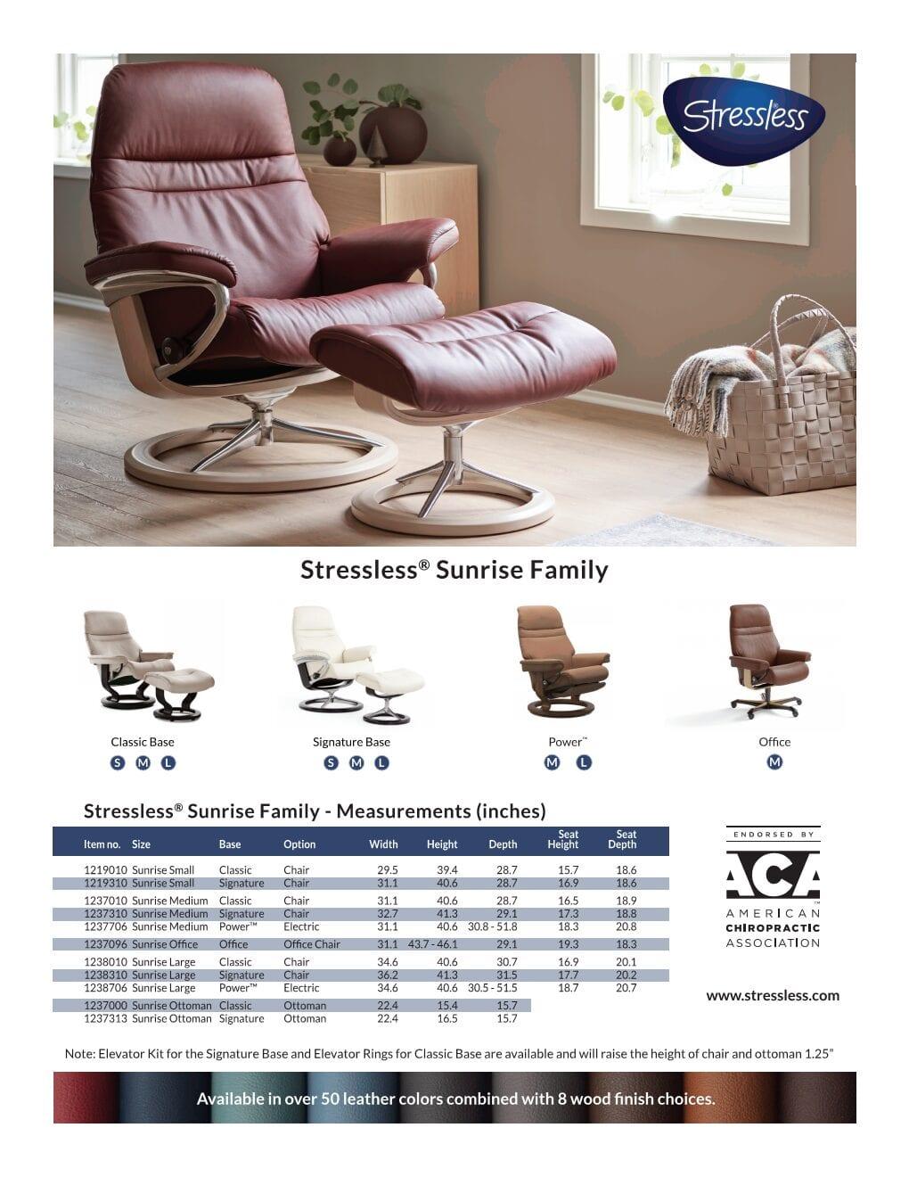 Sunrise Stressless Recliner Product Sheet