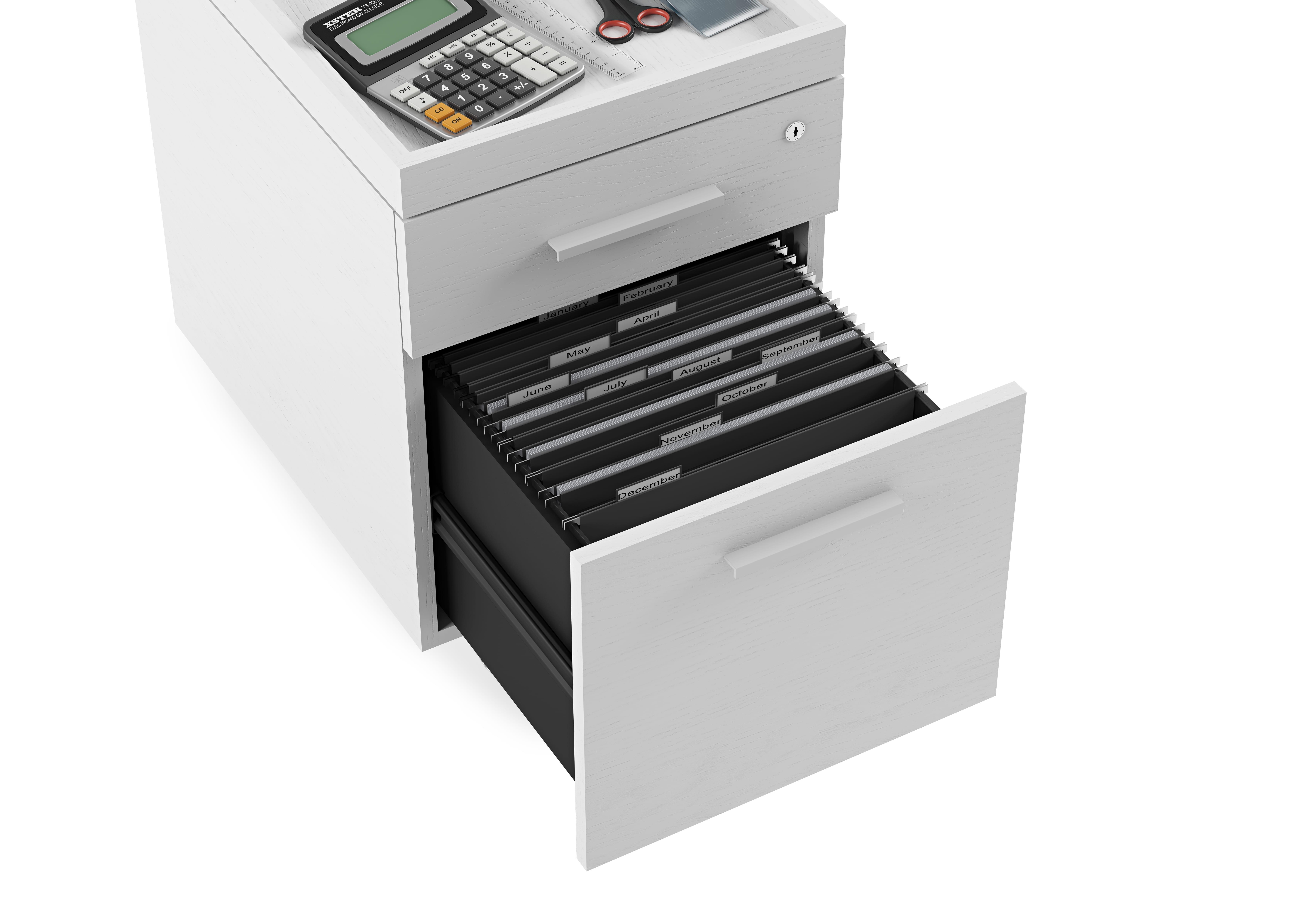 Centro Office File Cabinet 6401 White