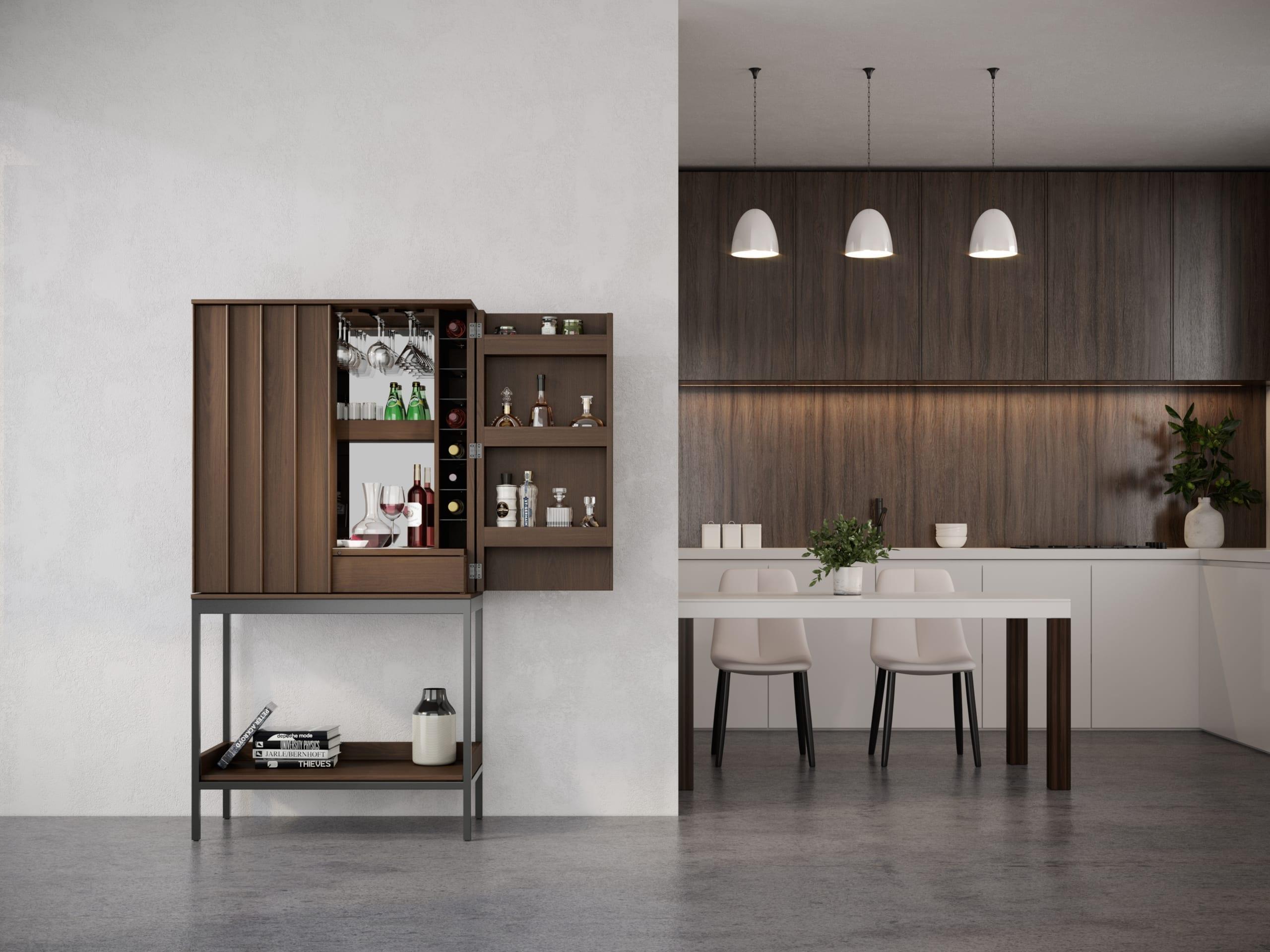 Cosmo 5720 Home Bar & Bar Cabinet | BDI Furniture Toast Walnut Living