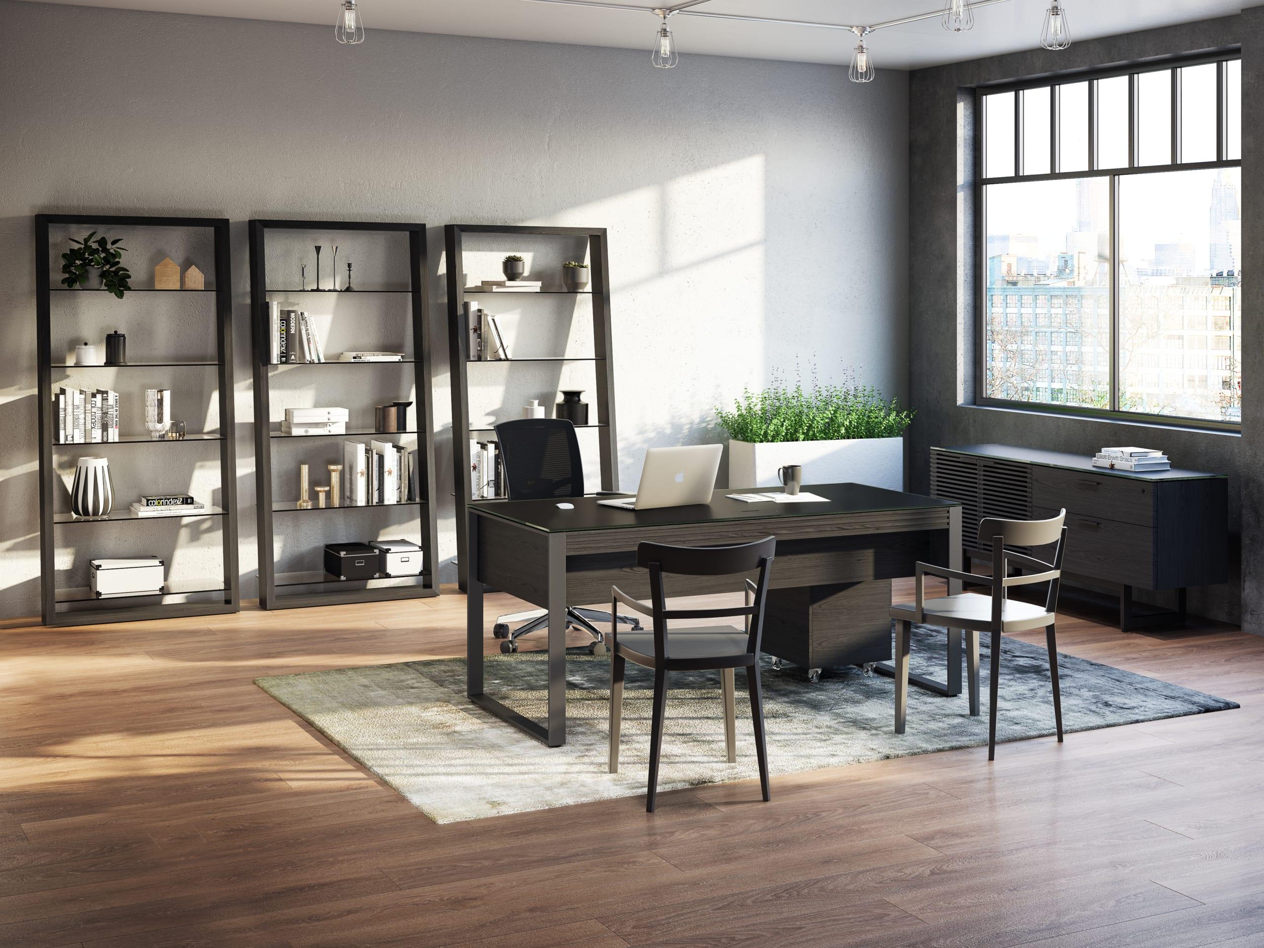Eileen 5156 Modern Leaning Glass Shelf   BDI Furniture Charcoal Ash Living