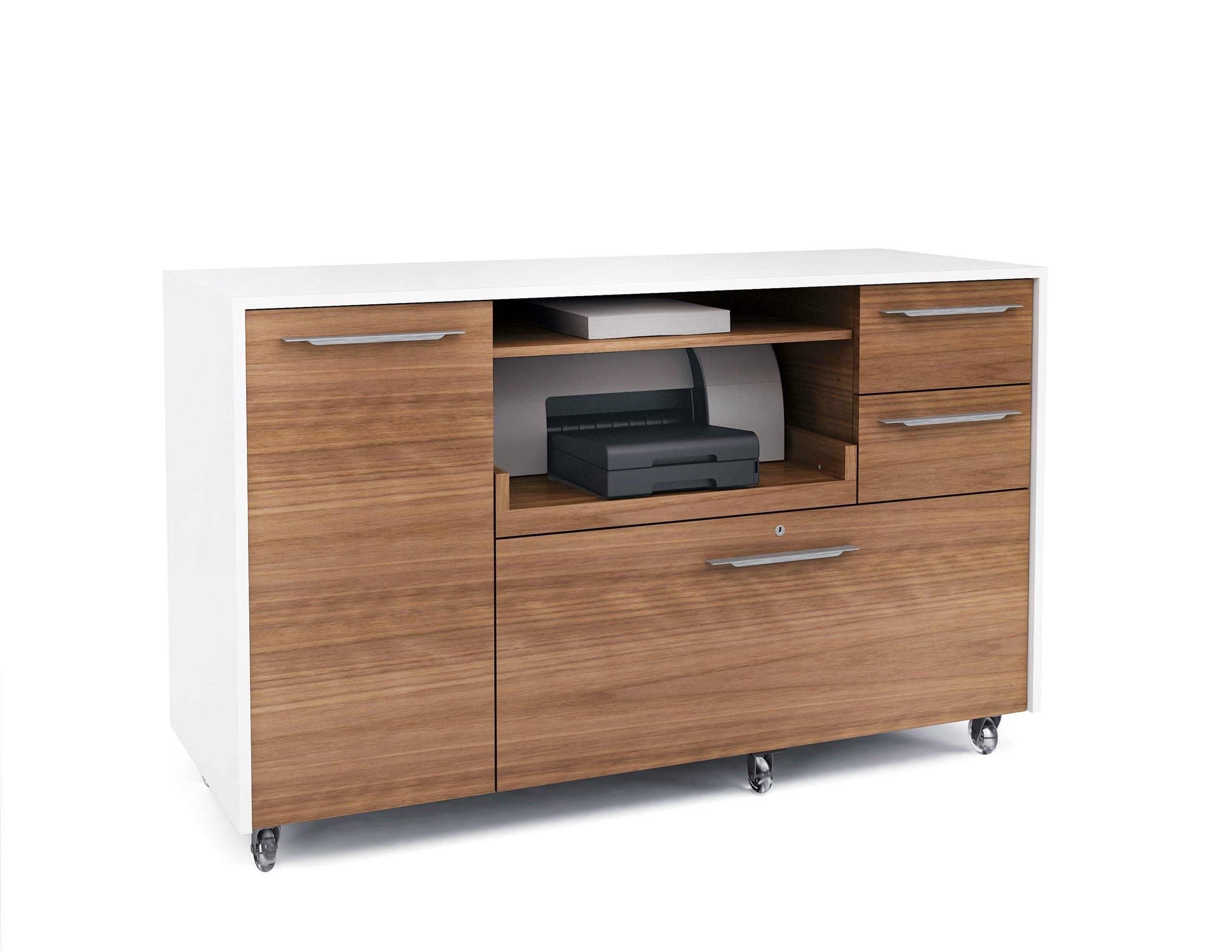 Format 6320 Multifunction Office Cabinet | BDI Furniture Natural Walnut