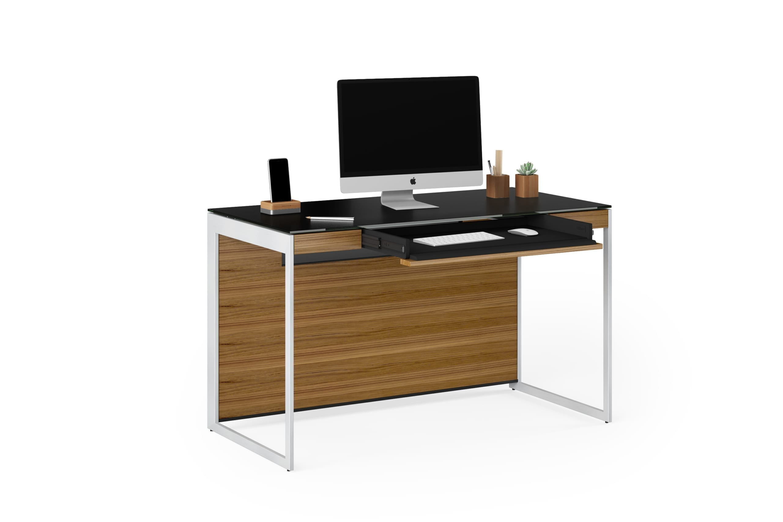 Sequel 6103 Desk Natural Walnut / Satin Nickel